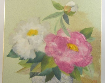 Vintage Japanese Paper Art - Retro Asian Flowers - Pink, White, Green