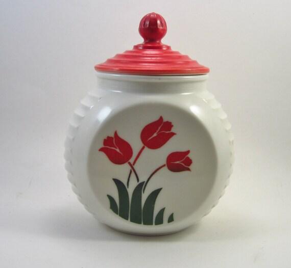 Vintage Red Tulip Vitrock Grease Jar - Fire King Milk Glass Jar With Lid - Anchor Hocking