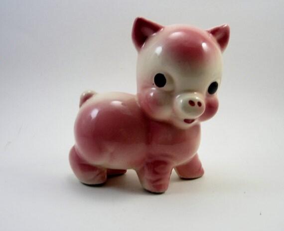 Vintage Pink Pig - Retro Ceramic - Kitsch Piggy