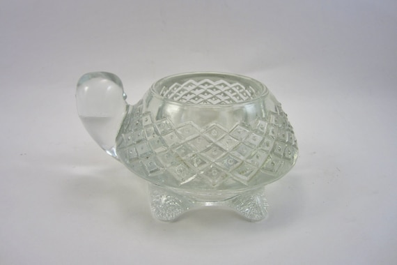 Vintage Avon Turtle Candle Holder - Retro Glass Candle Holder - 1970's Kitsch