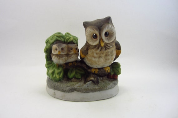 Vintage Owl Ceramic  - Retro Momma Owl and Owlets - 1970's Kitsch