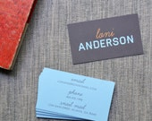 Loni Anderson Calling Cards in Brown, Blue and Orange