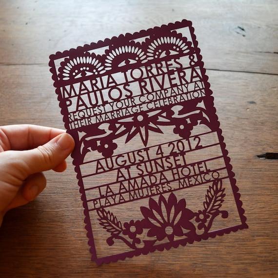 items similar to papel picado laser cut wedding invitation