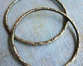 Antiqued Notched Sterling Silver Soldered Circles - 1 pair - 27mm 16 gauge Hoop Findings