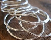 Bright Sterling Silver Links - 1 pair - 27mm Soldered and Hammered Circles