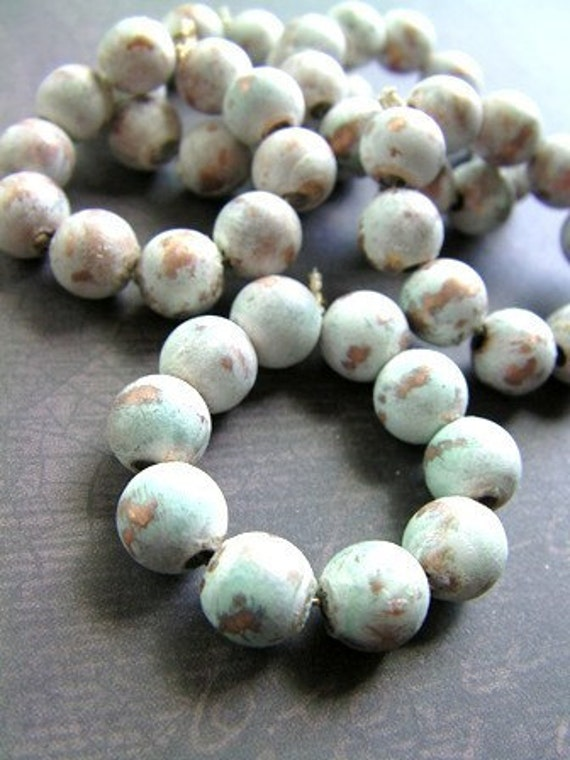 Ghost White - Patinated Copper Beads