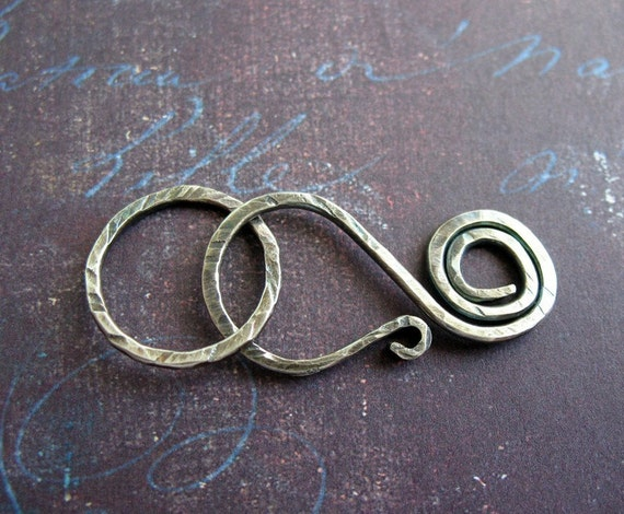 Antiqued Sterling Silver Swirl Clasp with Soldered Link