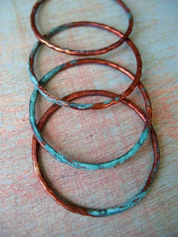 Water and Wood - 27mm Patina Copper Links - set of 4
