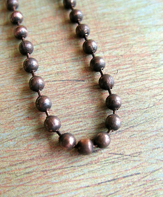 24 inch Antiqued Copper Ball Chain Necklace - CHN00347