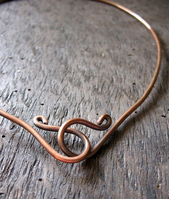 Antiqued Copper Neck Cuff with Front Hook - WRE00110