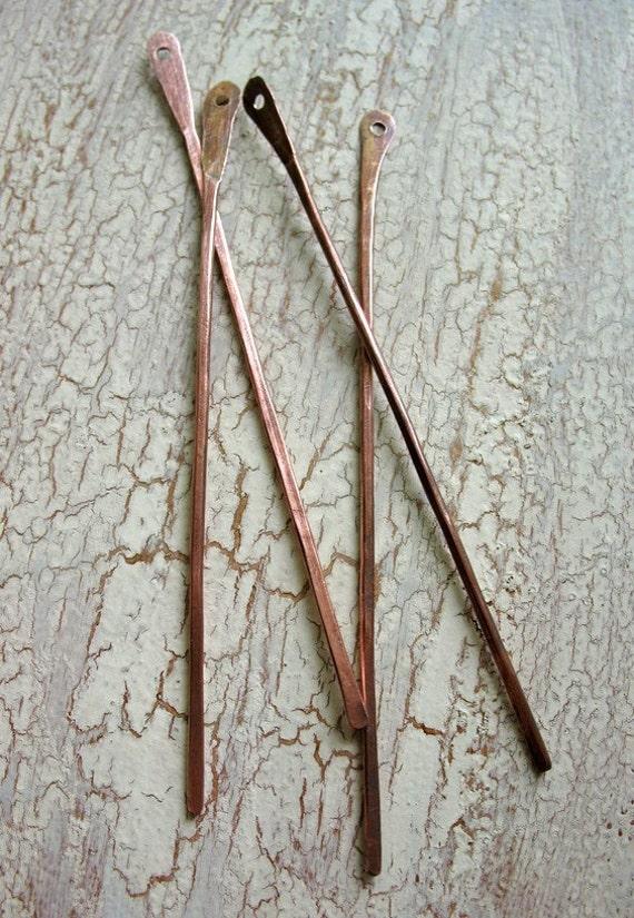 Antiqued Slim Sticks in Copper - set of 4 - BAR00109
