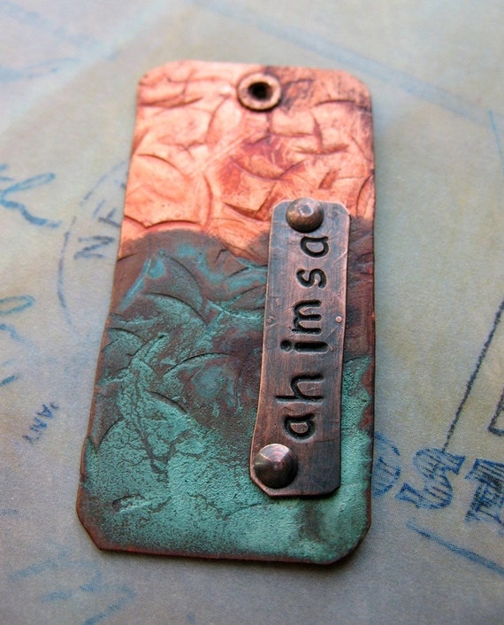 ahimsa -  peaceful dog tag/pendant