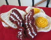 PDF only CROCHET PATTERN for Playfood Breakfast Eggs Bacon and Toast