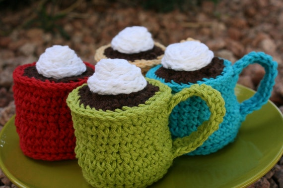 CUSTOM Cotton Play Food--  Espresso Con Panna or Hot Cocoa -You Choose Color- Ships Next Business Day