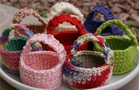 Crochet PATTERN PDF only: Little Cotton Treat Baskets for Easter or Spring Gifts