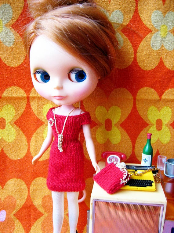 Joan Holloway Wiggle Dress and Bag for Blythe Inspired by Mad Men