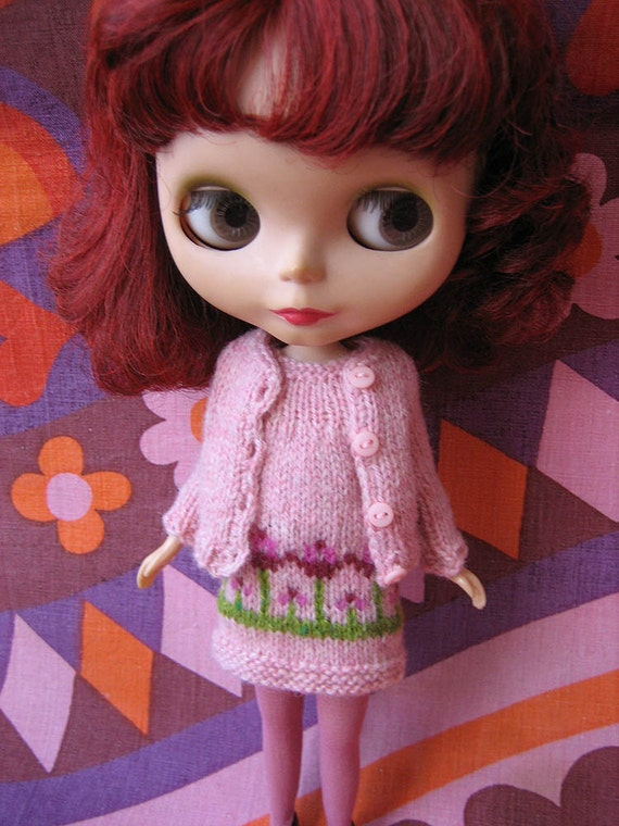 Blythe Cute Flowery Spring Smock Dress & Cardigan Set