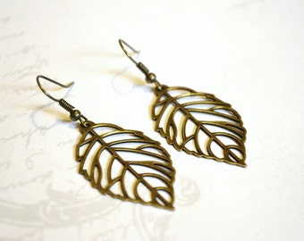 Antique Brass Leaves Earrings, Dangle Earrings, Long Earrings, Christmas Gift, Fall Jewelry, Fall Earrings