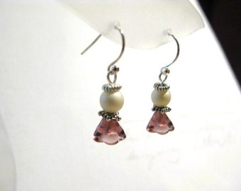 Christmas Angel Earrings - Imitation Pearl