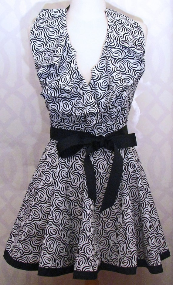 Black and White Ruffle Bodice Apron