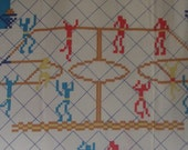 Vintage fabric child's sheet - Retro Classic Basketball Video Game