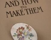 Vintage Brooch Painted Wildflowers on white enamel pin