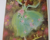 1970's Vintage Card - Happy Birthday - Coming of Age - Beautiful girl with flowers