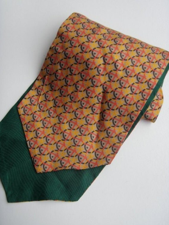 Men's Cravat neck tie - yellow and orange circles so dashing so suave