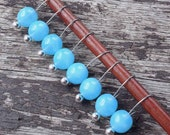 Small Knitting Stitch Markers  Milky Aquamarine  Set of 8 Fits Needles Up To 5mm