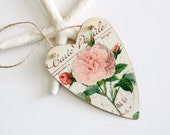 Pink Rose on Tin Heart Tag