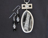 Silver and Fossil Necklace Set