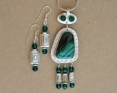 Silver and Malachite Necklace Set