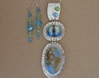 Silver and Stone Necklace Set