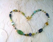 Necklace of Genuine Ancient Glass, Stone and Clay Beads, Vermeil Clasp
