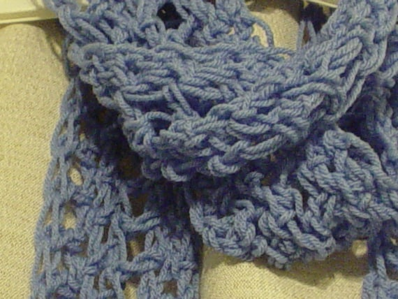 Crochet Stitches Loose : Loose stitch blue crochet scarf by SweetyPrize on Etsy