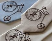 Antique Bicycle - vintage hiwheel bike, screenprinted microfiber necktie.