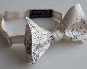 Topographical map bow tie, freestyle bowtie. Silkscreen cream men's necktie. Contour map, geography, cartographer gift.