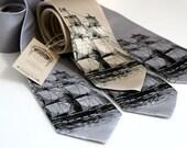 4 silk neckties, groomsmen matching silkscreen design - wedding group discount