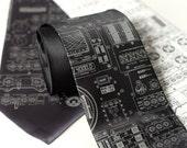 Rocket Science. Apollo cockpit silkscreen necktie. Dove gray ink.
