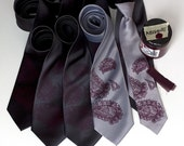 8 custom wedding ties. Groomsmen neckties, 20% wedding group discount, silkscreen matching vegan-safe ties.