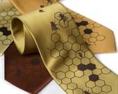 Oh Honey. Silkscreened bee necktie, chocolate brown ink.