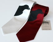 Raven Necktie. Black bird silhouette tie. Silkscreened silk necktie: choose red, burgundy, ivory, sage, periwinkle and more.