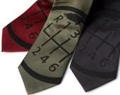 Gear Shift silk necktie - manual transmission shifter knob. Screenprinted men's tie, black ink. Choose your color.