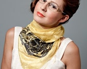 Lemon yellow typewriter scarf. Silkscreened woven fair trade silk scarf. Black Underwood typewriter print.