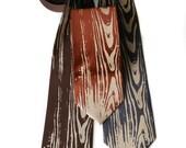 Woodgrain necktie. Faux bois men's tie. Warm cream screenprint. Your choice of tie size and color.