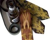 Beer. Hops, barley and wheat screenprinted microfiber necktie. Mustard yellow ink. Choose standard or narrow.