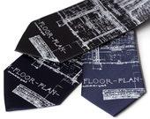 Architect Necktie. Blueprint Men's Necktie. Cass Tech Detroit High School. Architecture silkscreen print tie. Navy blue tie & more.