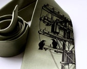 Transformer, screenprinted necktie with birds, rabbits, wire and electric pole