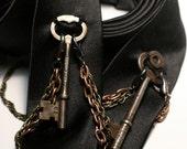 Escape Artist, antique skeleton key silk necktie