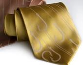 Fishing necktie, Playing Hooky. Tan silkscreen design. Standard or narrow microfiber.